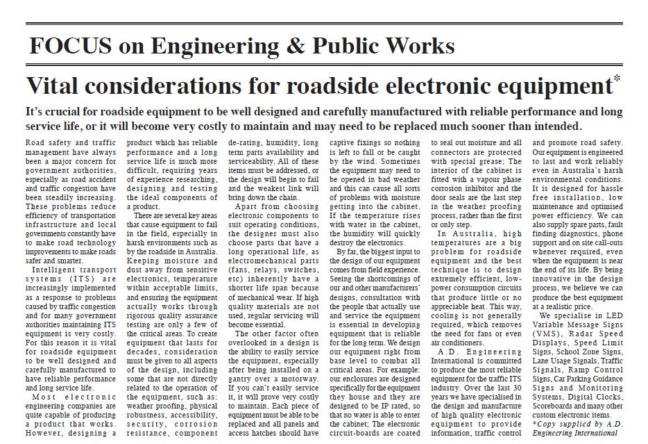 """Vital environmental considerations for roadside electronic equipment"""