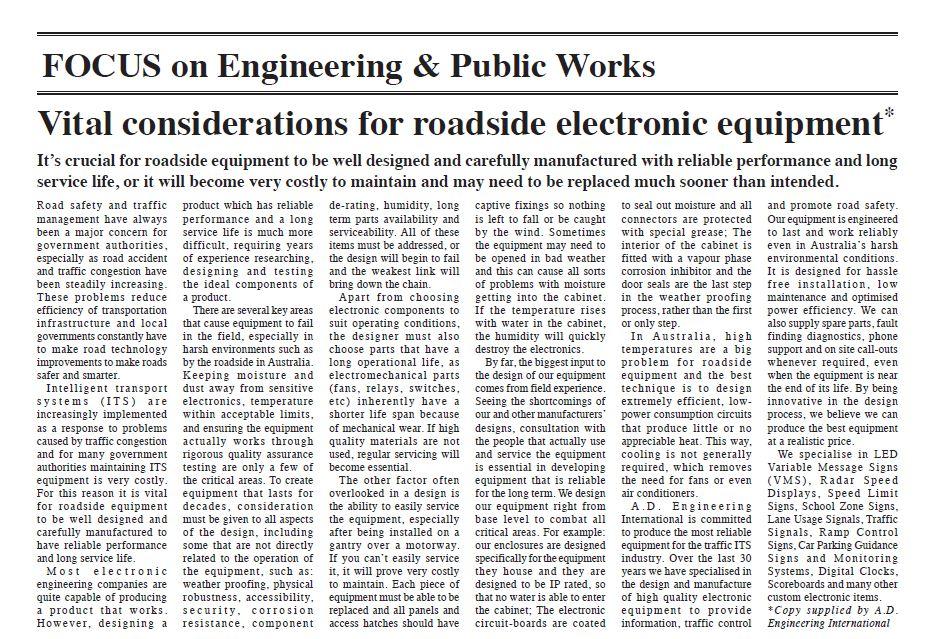 """Vital environmental considerations for roadside electronic equipment"""