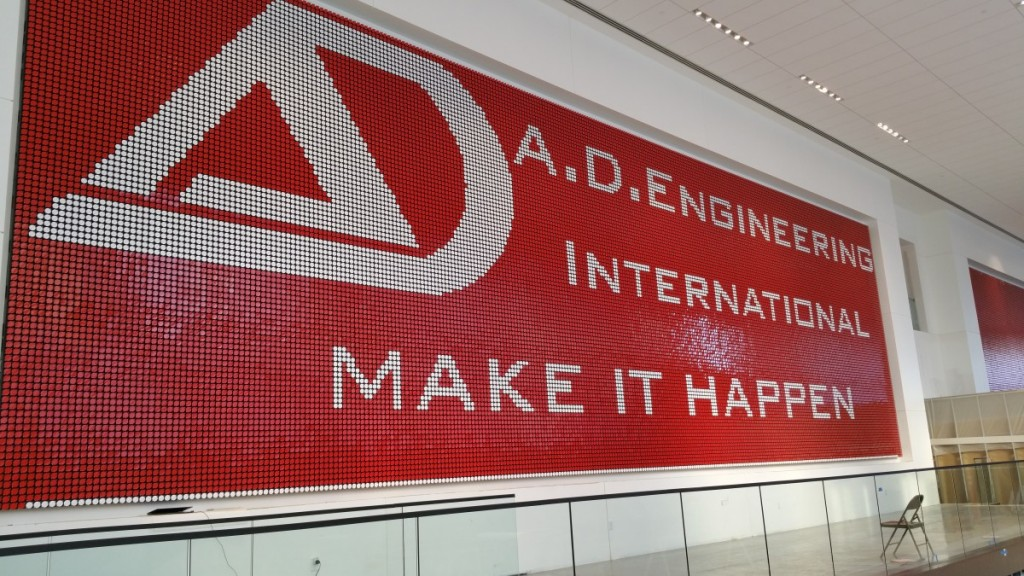 A.D. Engineering International commissioned the world's largest flip-dot-sign for a U.S. company